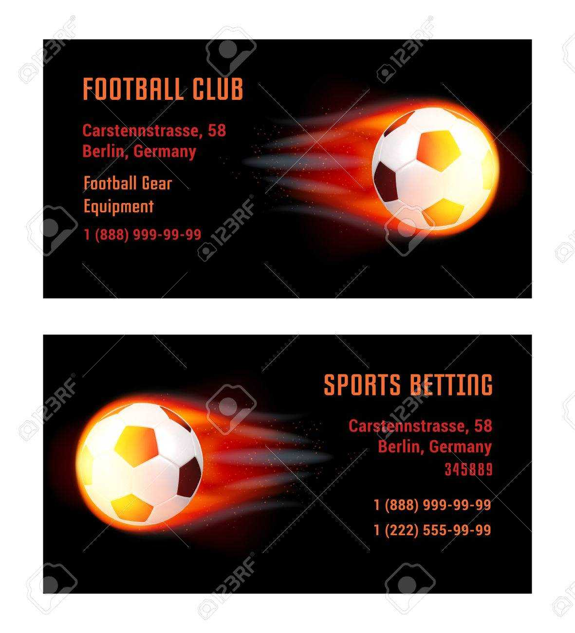 Vector Card Football Ball With Fire. Template For Football Club.. Throughout Football Betting Card Template