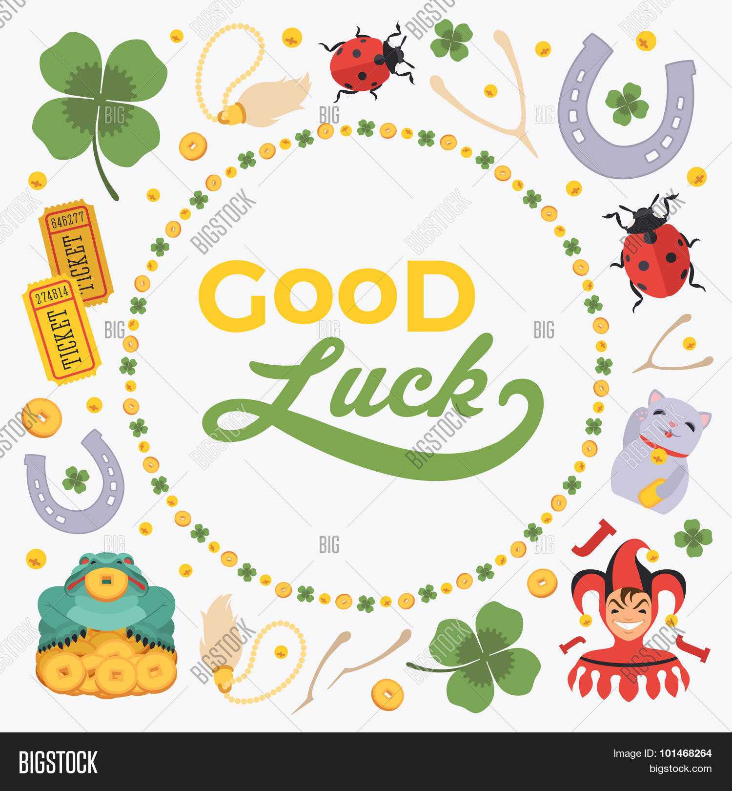 Vector Decorating Vector & Photo (Free Trial) | Bigstock In Good Luck Card Template