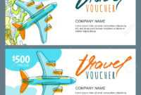 Vector Gift Travel Voucher Template. Top View Hand Drawn Flying.. within Free Travel Gift Certificate Template