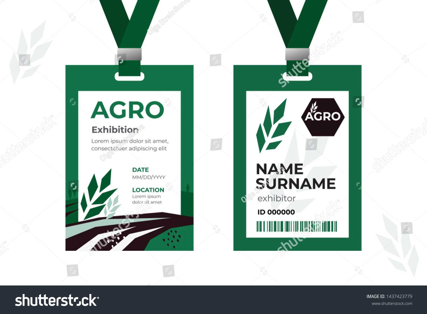 Vector Template Id Card Strap Design Stock Vector (Royalty Inside Conference Id Card Template