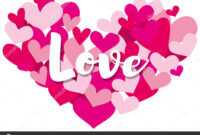 Velentine Card Template With Word Love On Heart Shapes regarding Valentine Card Template Word