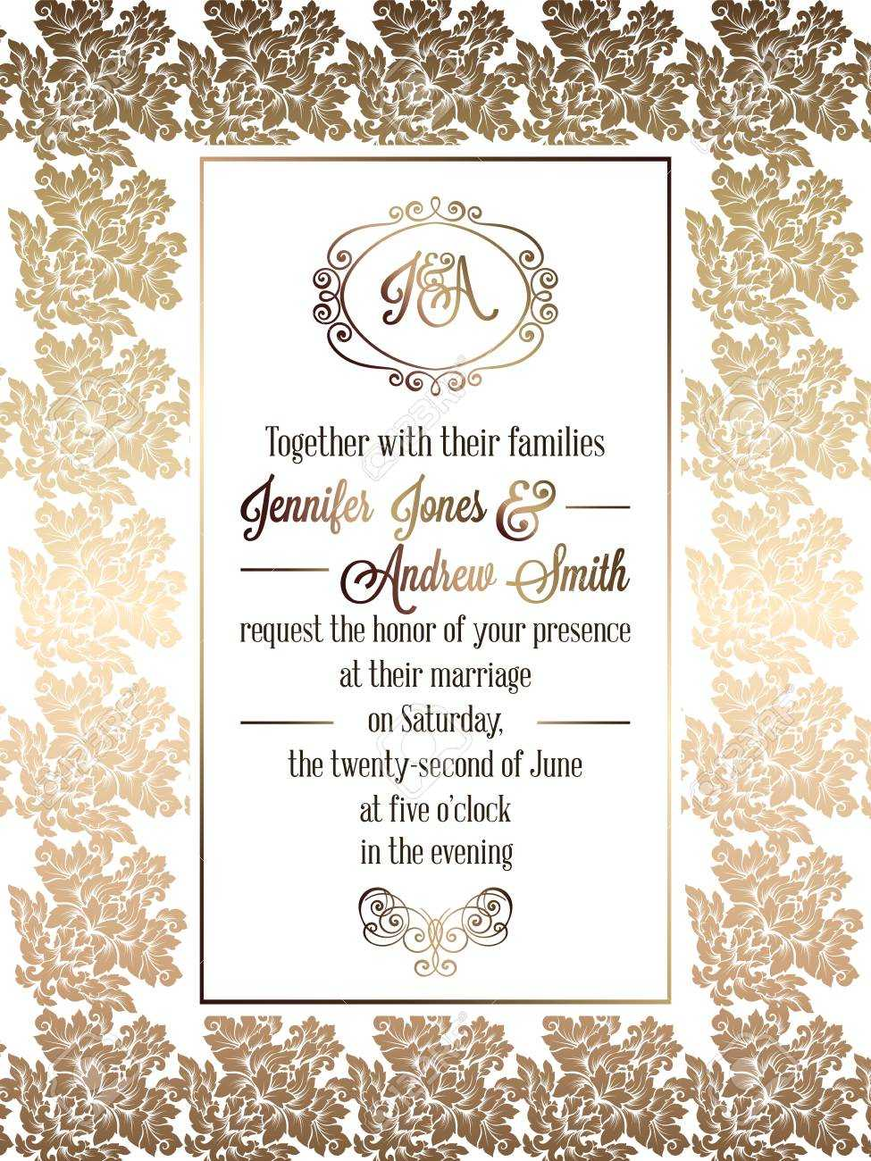 Vintage Baroque Style Wedding Invitation Card Template.. Elegant.. With Regard To Invitation Cards Templates For Marriage