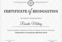 Vintage Certificate Of Recognition Template pertaining to Template For Certificate Of Award