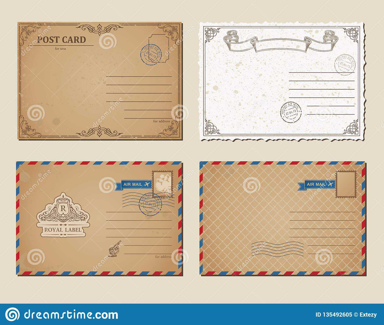 Vintage Postcards, Postage Stamps, Vector Illustration Post Throughout Post Cards Template