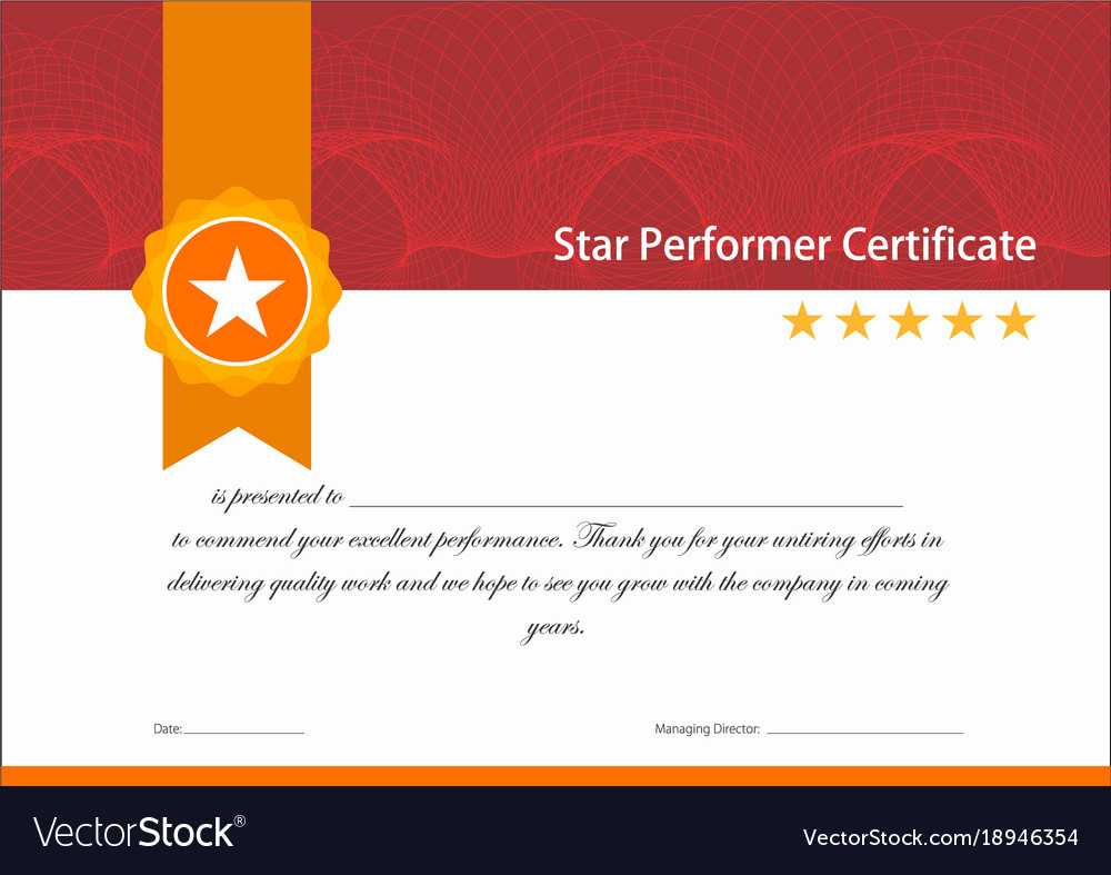 Vintage Red And Gold Star Performer Certificate Pertaining To Star Performer Certificate Templates