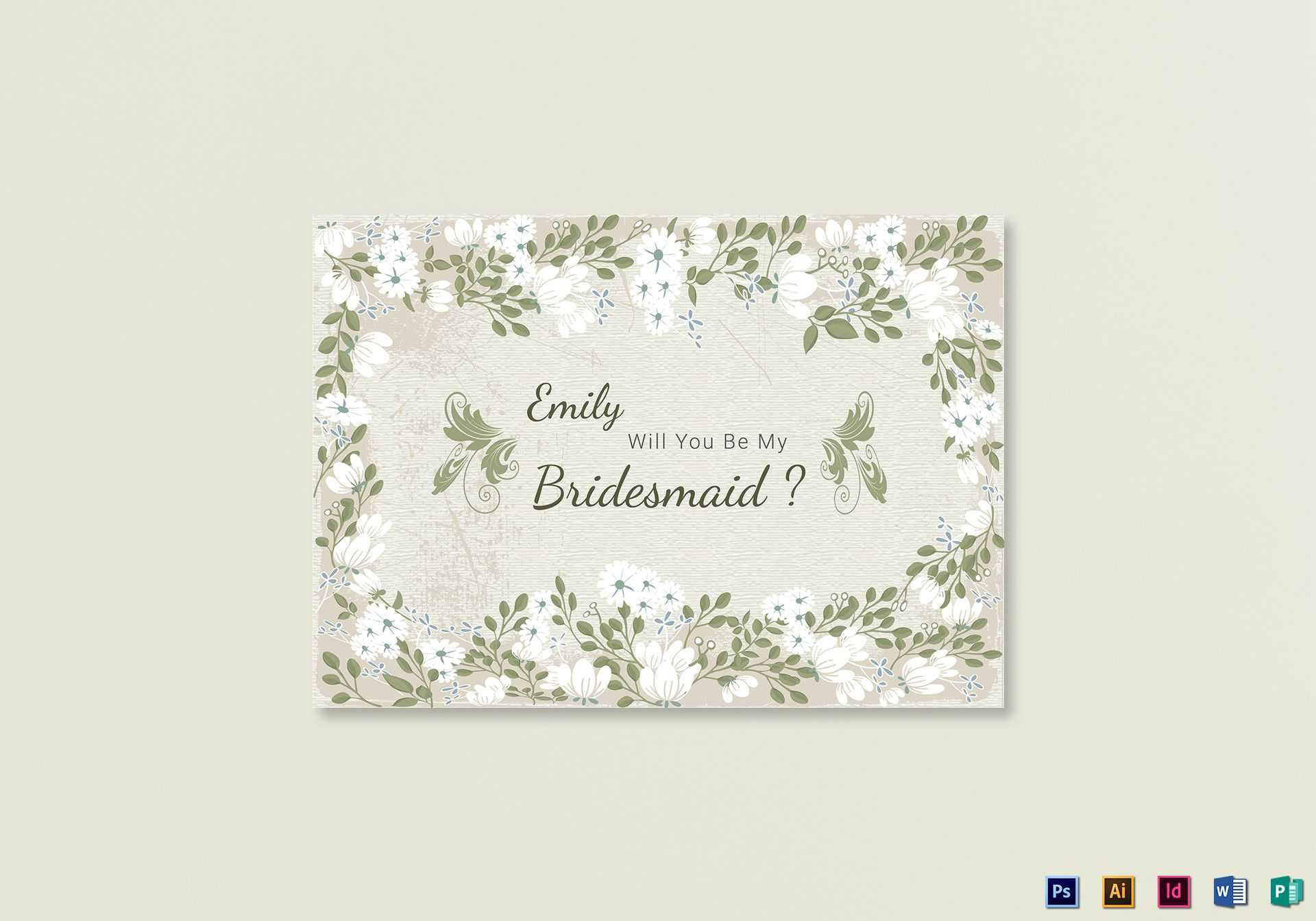 Vintage Will You Be My Bridesmaid Card Template Pertaining To Will You Be My Bridesmaid Card Template