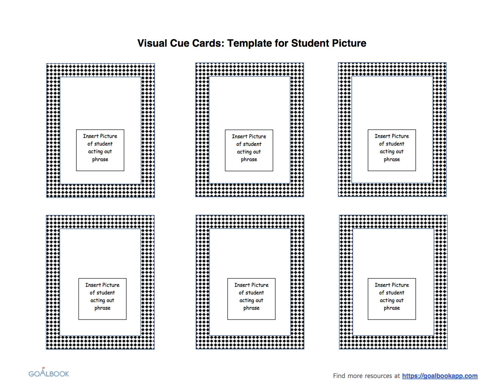 Visual Cue Cards | Udl Strategies – Goalbook Toolkit Intended For Cue Card Template