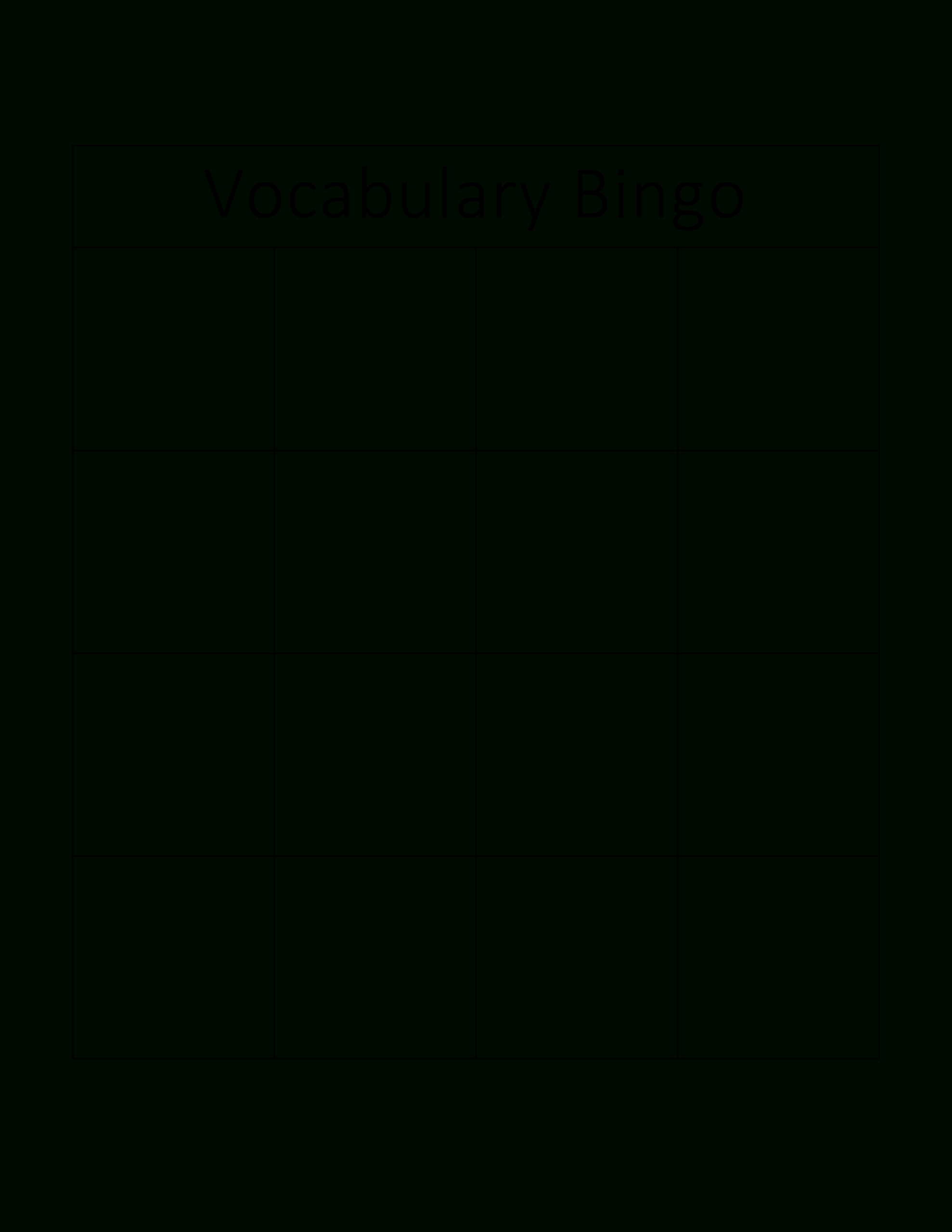 Vocabulary Bingo Card | Templates At Allbusinesstemplates For Bingo Card Template Word