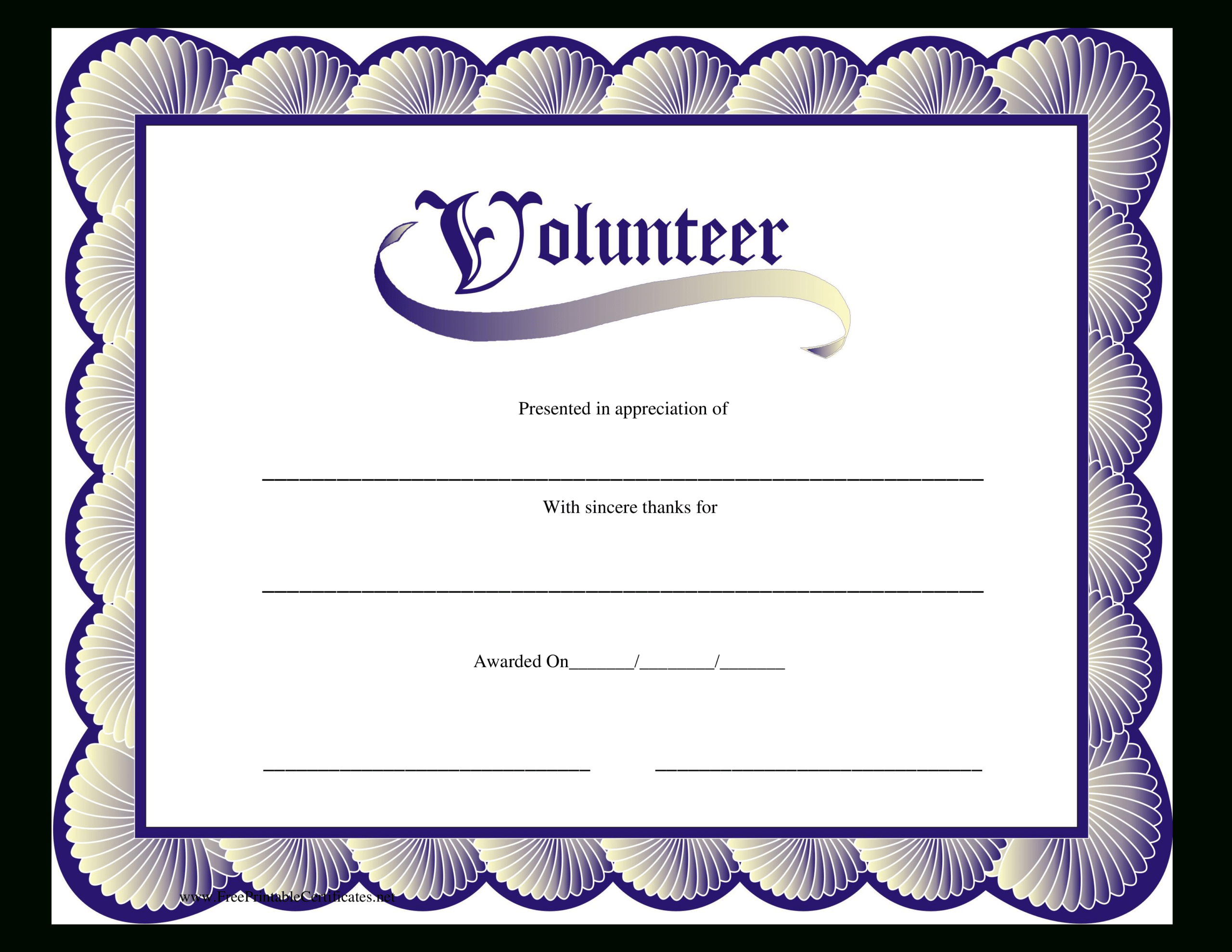 Volunteer Certificate | Templates At Allbusinesstemplates In Volunteer Certificate Templates