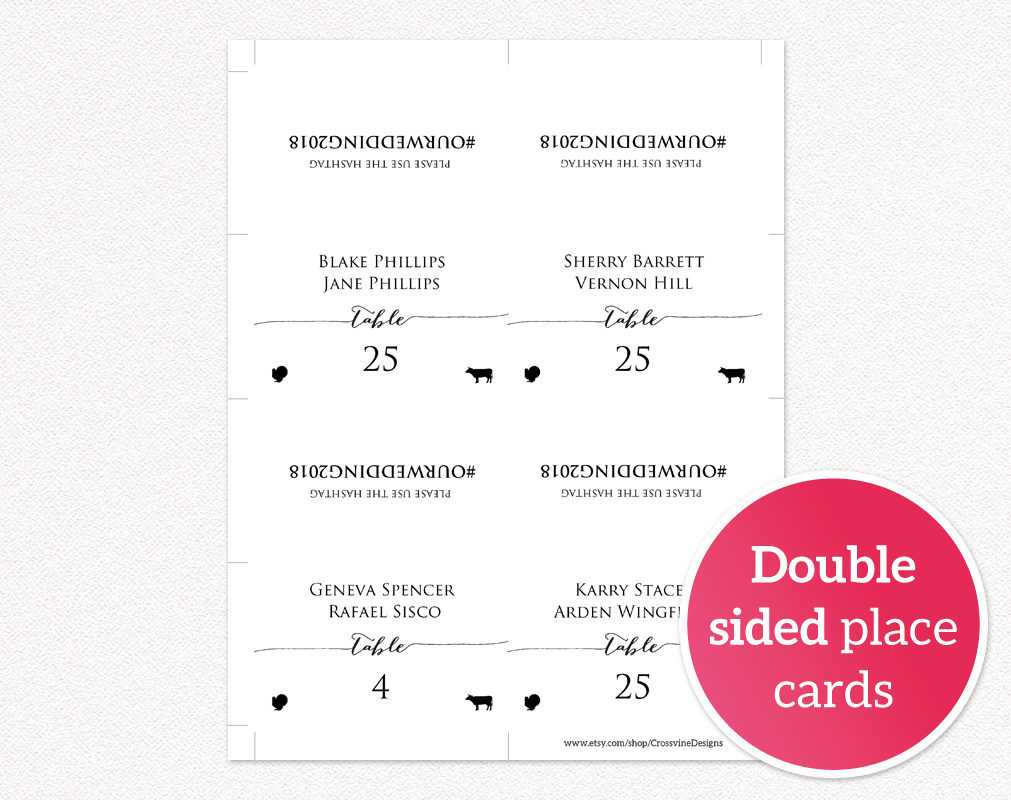 Wanted Place Card Template Double Sided Cards With Meal With Regard To Ms Word Place Card Template