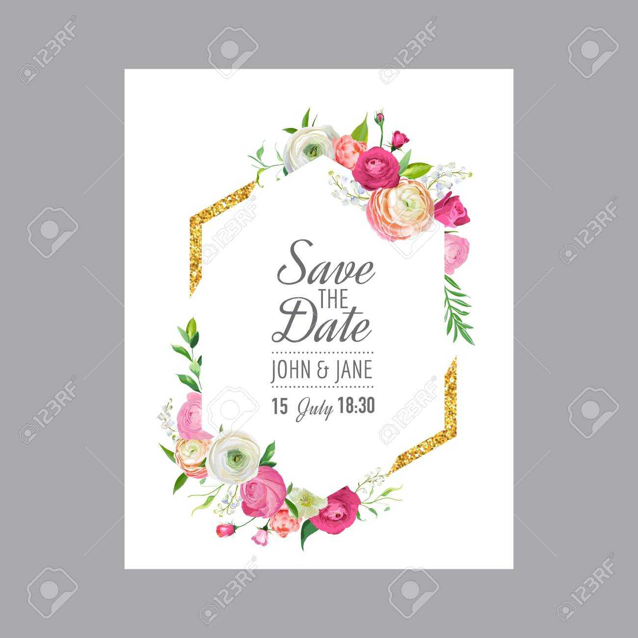 Wedding Invitation Card Template Save Date Stock Vector With Save The Date Cards Templates