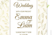 Wedding Invitation Card Template Swirl Leaves Gold Stock for Free Printable Wedding Rsvp Card Templates