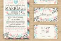 Wedding Invitation Template Thank You Card Stock Vector throughout Template For Rsvp Cards For Wedding