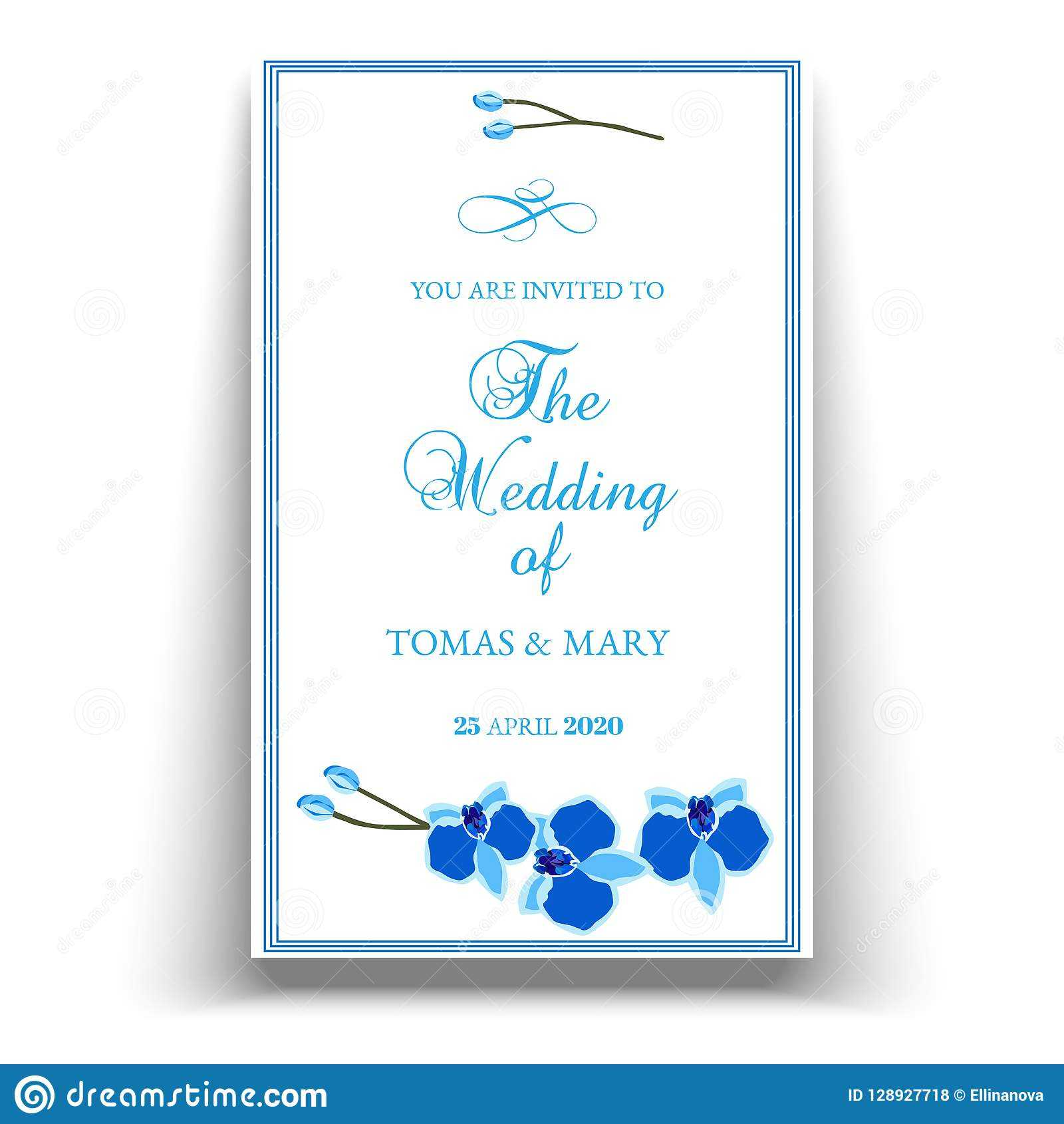 Wedding Marriage Event Invitation Template With Blue Orchid Pertaining To Engagement Invitation Card Template