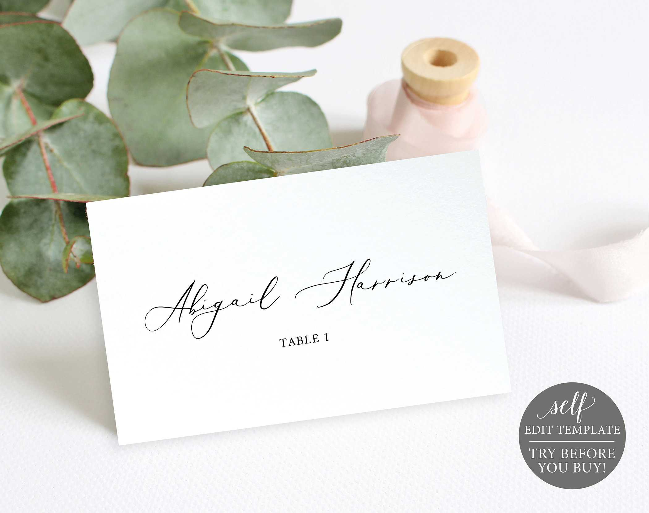Wedding Place Cards Template, 100% Editable Wedding Seating With Printable Escort Cards Template
