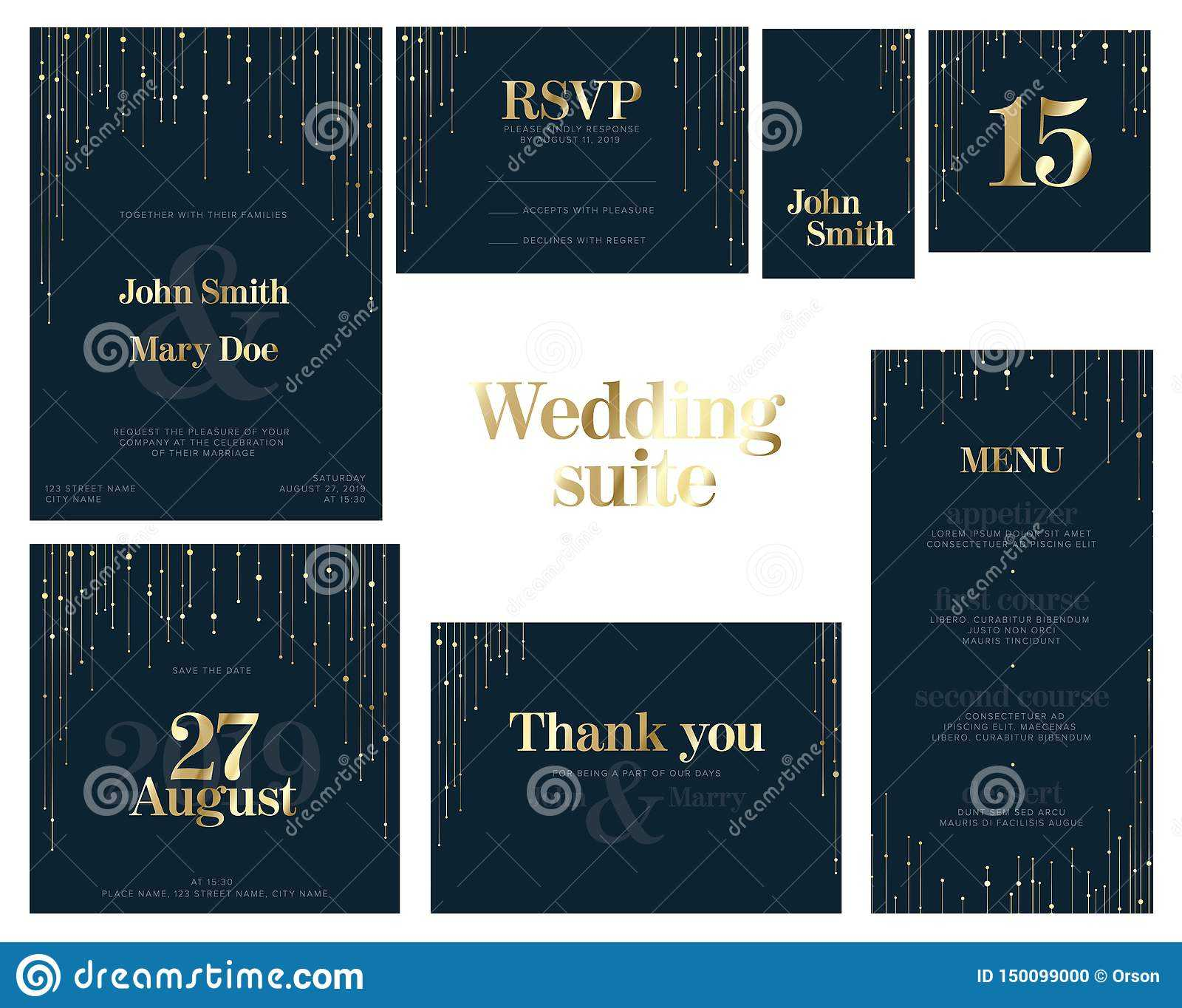 Wedding Suite Collection Card Templates Stock Vector In Celebrate It Templates Place Cards