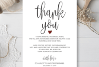 Wedding Thank You Note, Printable Thank You Card Template within Template For Wedding Thank You Cards