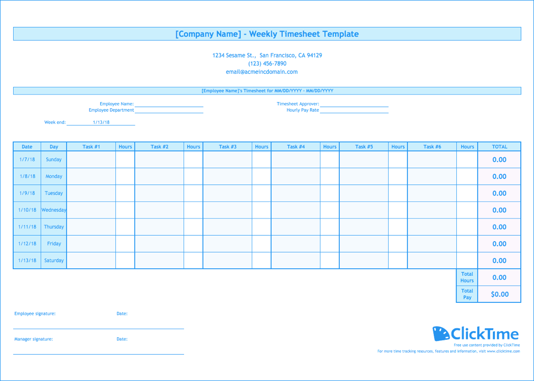 Weekly Timesheet Template | Free Excel Timesheets | Clicktime Intended For Weekly Time Card Template Free