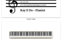 White Pianist Music Business Card Template throughout Dog Grooming Record Card Template