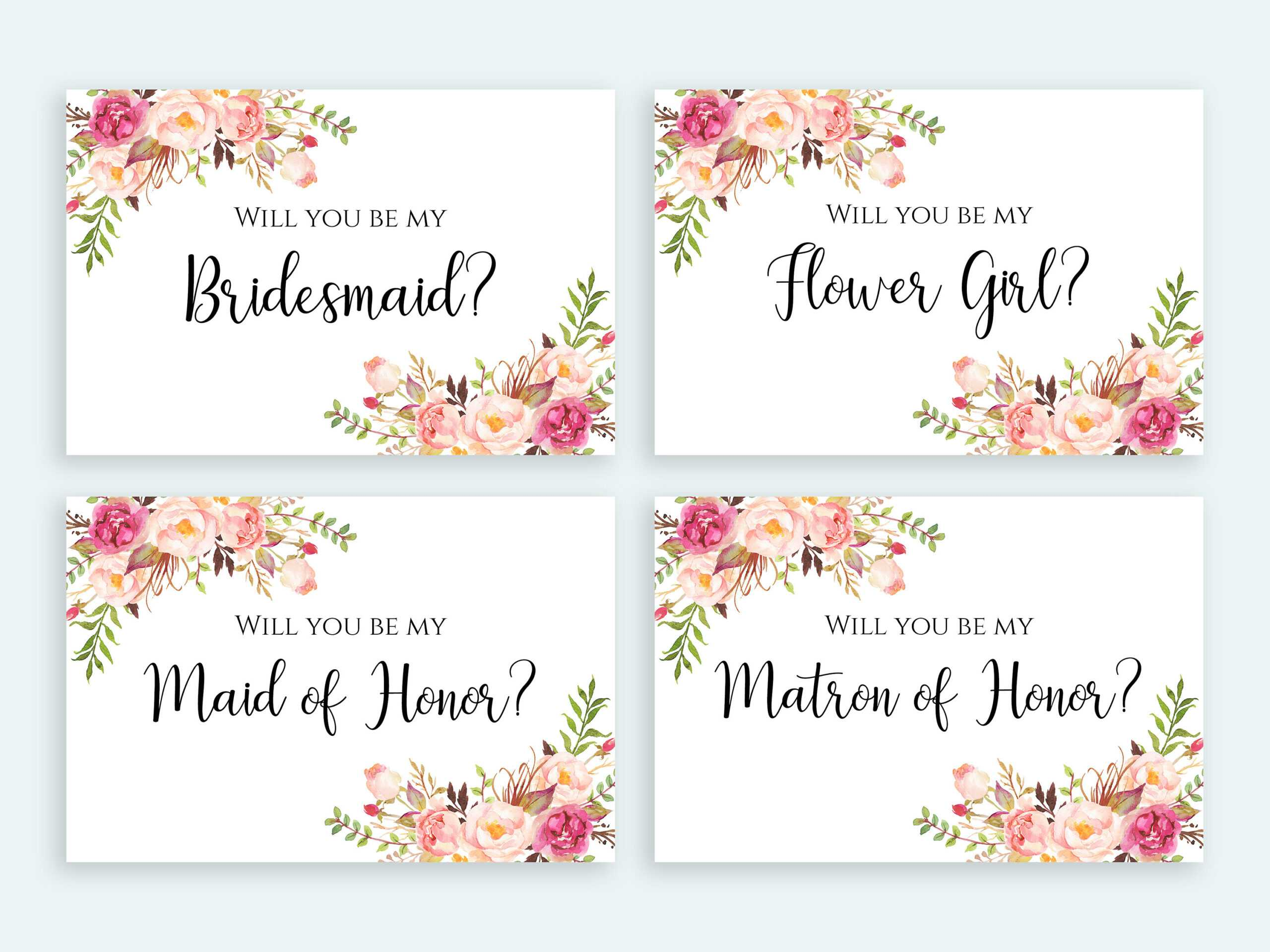 Will You Be My Bridesmaid Card Printable Set Floral Cards Multipack Flower  Girl Invitation Pack Digital Download Pdf Jpeg Template Print Regarding Will You Be My Bridesmaid Card Template