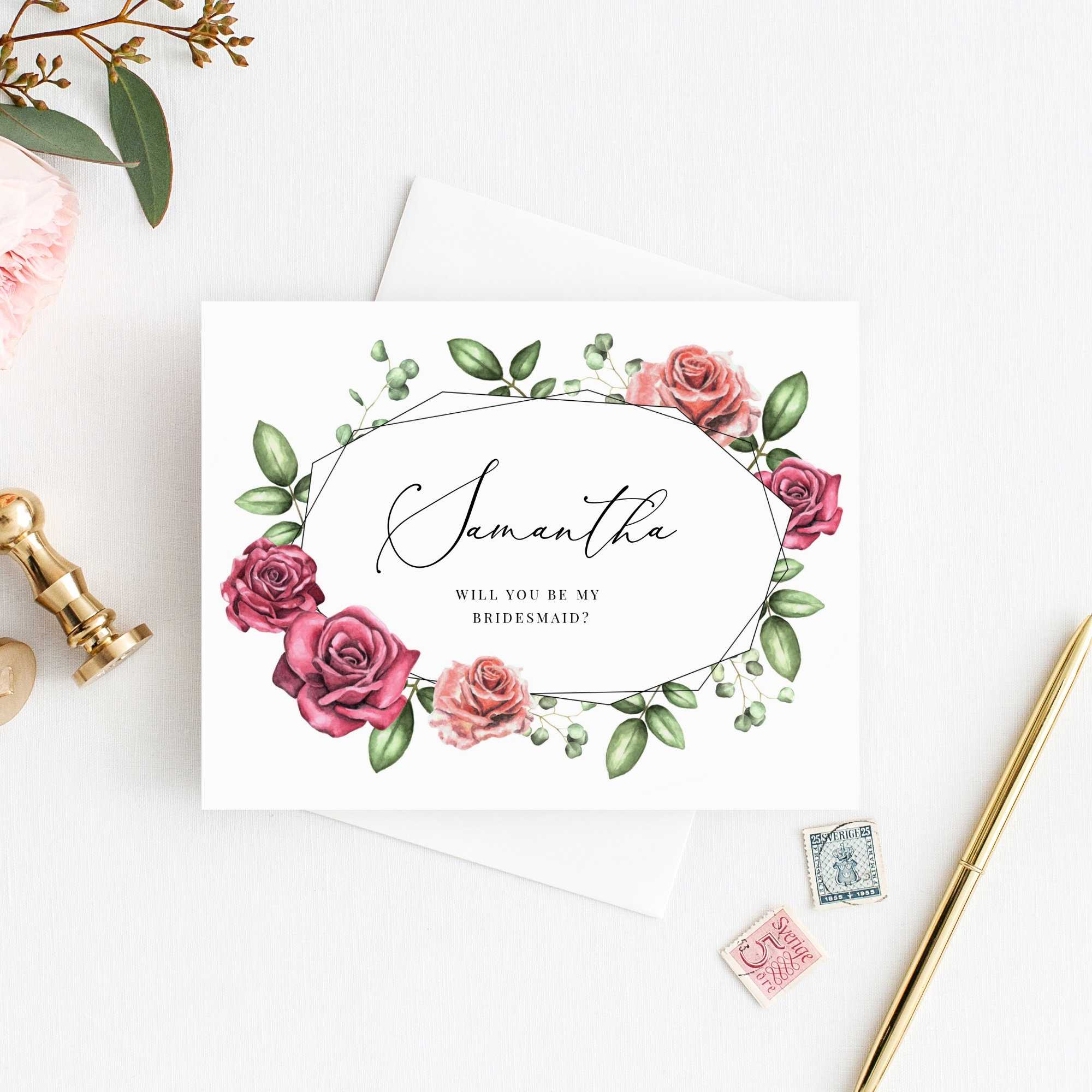 Will You Be My Bridesmaid Card, Will You Be My Maid Of Honor Card, Instant  Download, Editable Template Inside Will You Be My Bridesmaid Card Template