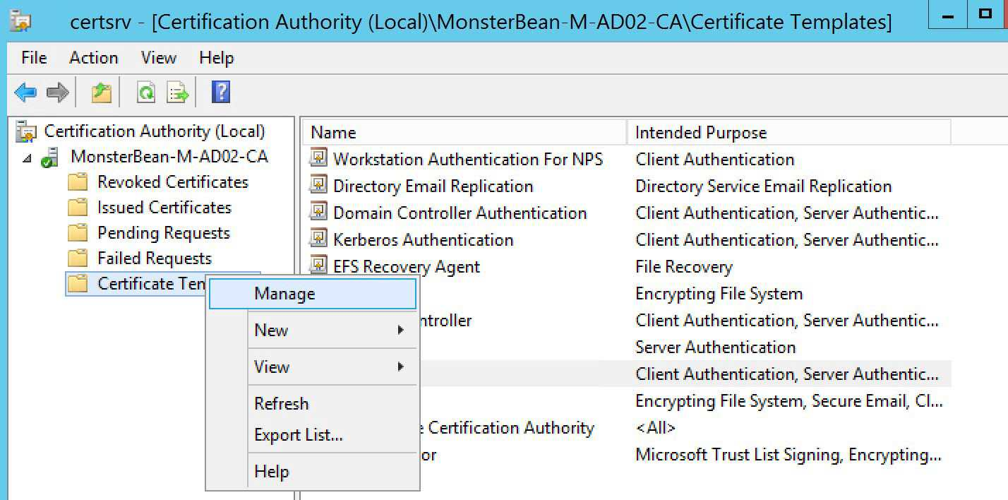 Windows 2012 R2 Nps With Eap Tls Authentication For Os X Within Domain Controller Certificate Template