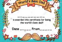 World's Best Dad Award Certificate Template For Father's Day regarding Player Of The Day Certificate Template