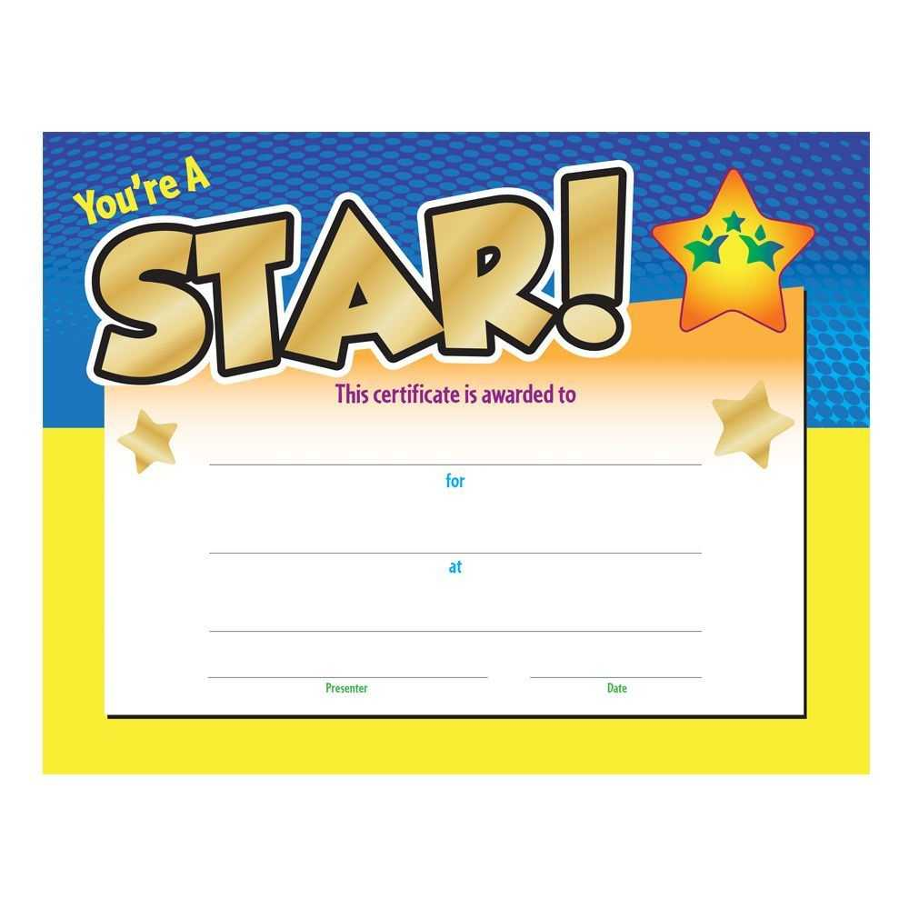 You're A Star! Gold Foil Stamped Certificate For Star Award Certificate Template