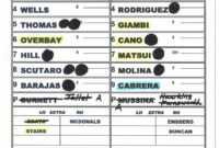 Zack Hample's Lineup Cards — Zack Hample regarding Dugout Lineup Card Template