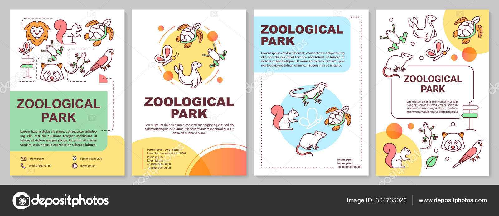 Zoological Park Brochure Template Layout. Zoo Animals. Flyer For Zoo Brochure Template